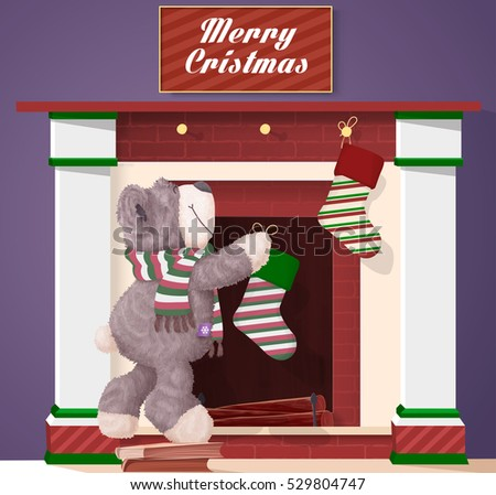 Merry Christmas and happy new year vector illustration. Teddy Bear hangs socks on the fireplace and ready for Christmas.