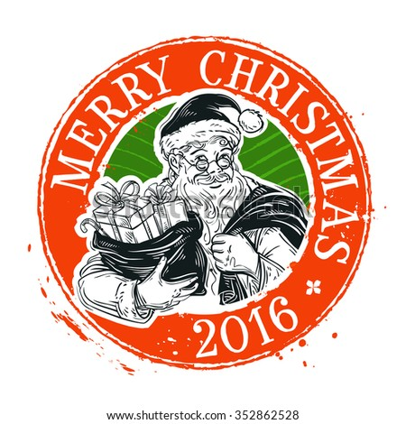 Merry Christmas and Happy New Year vector logo design template. Holiday or Santa Claus icon