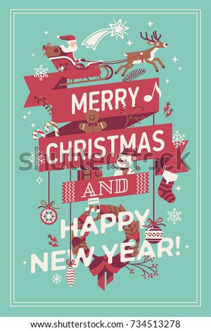 Merry Christmas and Happy New Year vector poster, banner or greeting card template. Ideal for Winter Holiday events advertising or celebration party invitations
