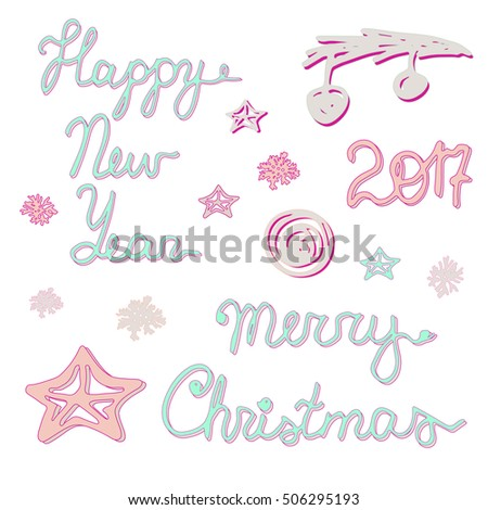 Merry Christmas Happy New Year Vector Stock Vector 506295193