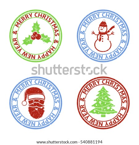 Merry Christmas and Happy New Year vector stamps with Christmas elements