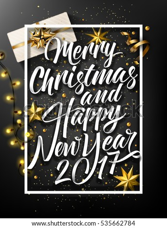 Merry Christmas And Happy New Year 2017, Vintage Background With Typography and Elements