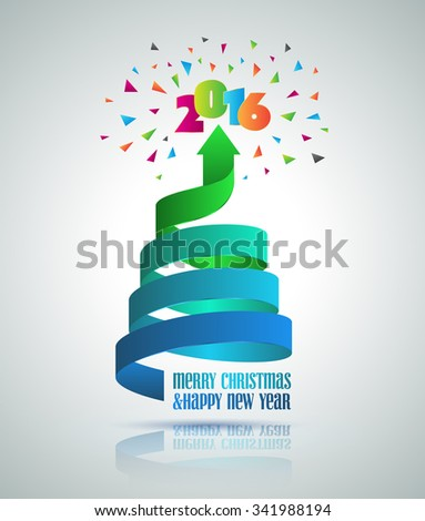 Merry christmas and happy new year 2015 with christmas tree arrow ribbon. Can use for card. - stock vector