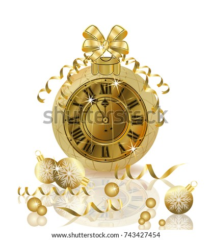 Merry Christmas and Happy New year with golden clock, vector illustration