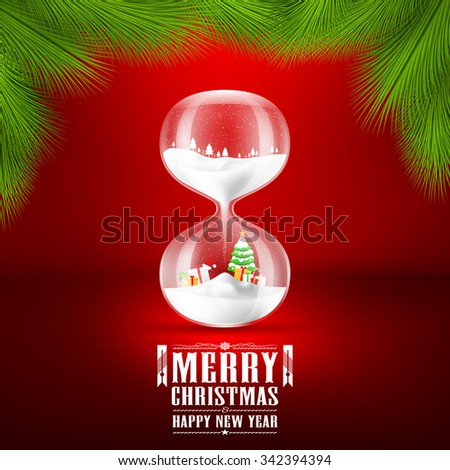 Merry Christmas and Happy new year with hourglass.vector illustration - stock vector