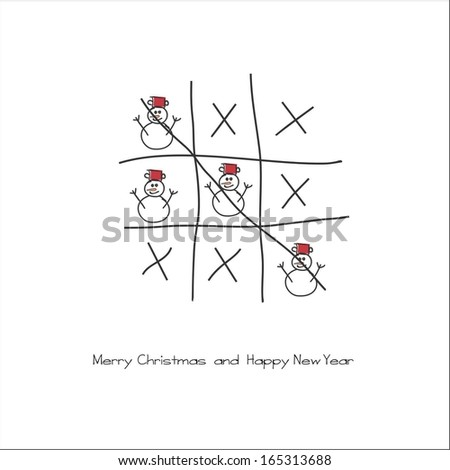 Merry Christmas and Happy New Year x-o game - stock vector