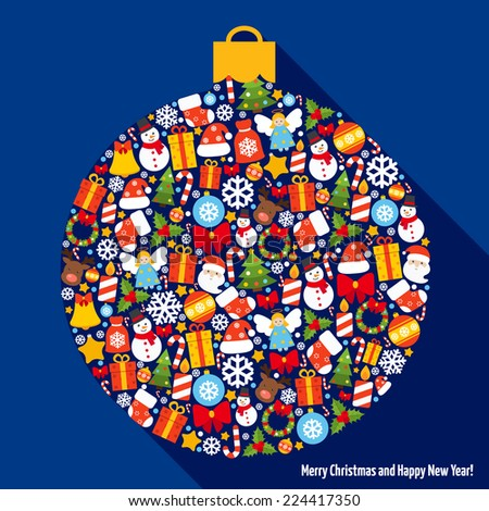 Merry christmas and happy newy year icons in decoration ball shape vector illustration - stock vector