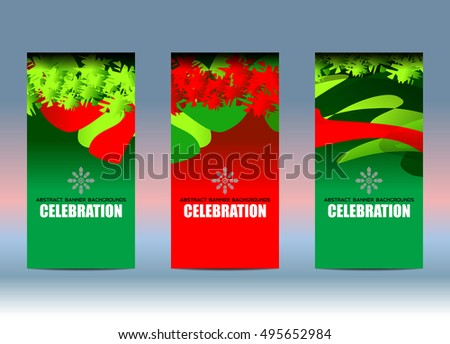 Merry Christmas and New Year banner design vertical background set, vector illustration