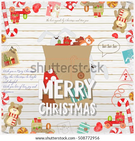 Merry Christmas New Year Card Holiday Stock Vector 508772956