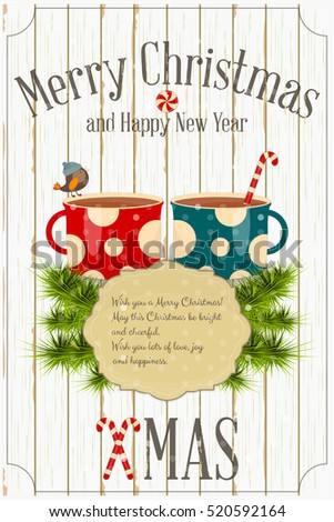 Merry Christmas and New Year Card -  Two Cups of Coffee and Xmas Fir Branches on White Wooden Background. Vector Illustration.