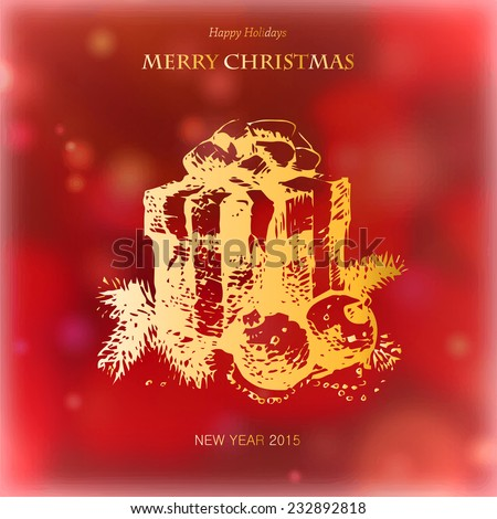 Merry Christmas and New Year, Greeting Card, gift box, Merry Christmas lettering, drawing hand, vector illustration - stock vector
