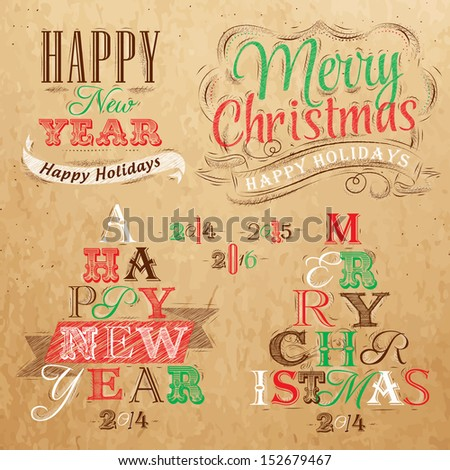 Merry Christmas and New Year lettering collection of Christmas tree from letters  stylized for the drawing on kraft paper of red, brown, green. Vector