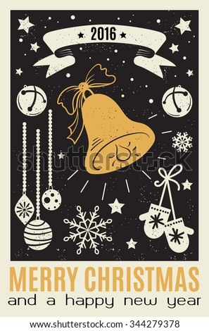 Merry Christmas And New Year Typographical card On black background. Poster with elements of Christmas in white and gold colors with grungy texture. - stock vector