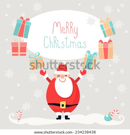 Merry Christmas and New Year vintage greeting card - stock vector