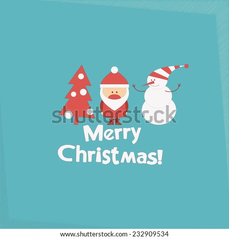 Merry Christmas and New Years Card with Santa Claus, Christmas Tree and Snowman. Vector illustration. - stock vector