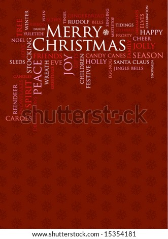 merry christmas and other holiday words on a red background