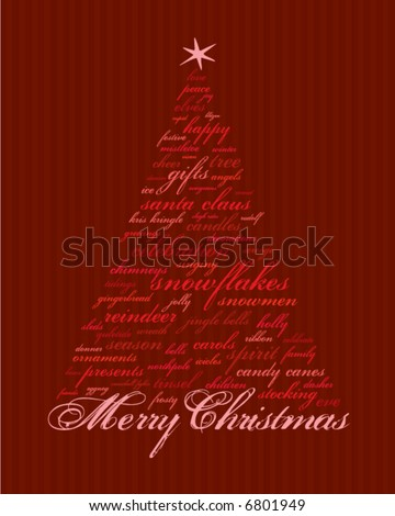 merry christmas and other words in red that make abstract trees