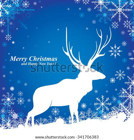 Merry Christmas and Snow on blue background.