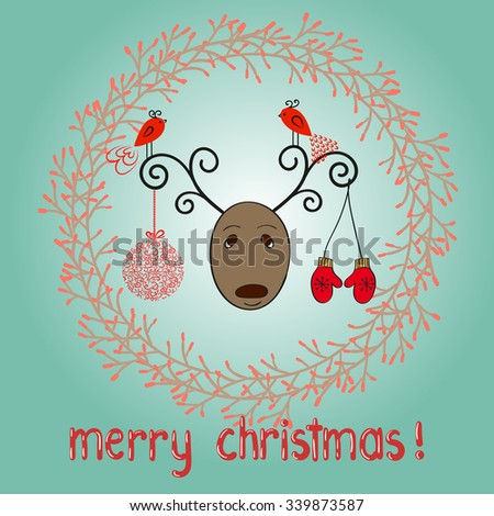 Merry Christmas background. Doodle vector illustration.