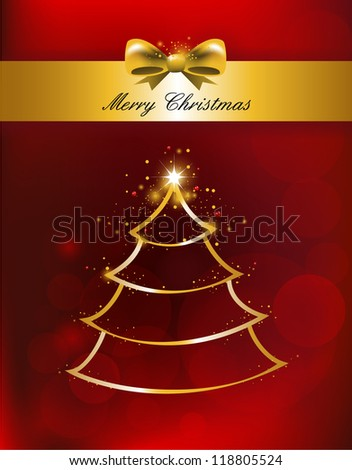 Merry Christmas Background for Greetings tree Card, vector illustration