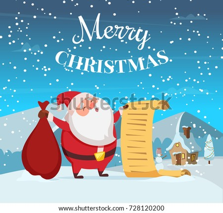 Merry Christmas Background Illustration Funny Santa Stock Vector ...