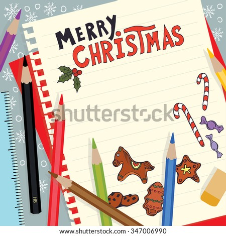 Merry Christmas background. Note paper and colored pencils in flat design style - stock vector