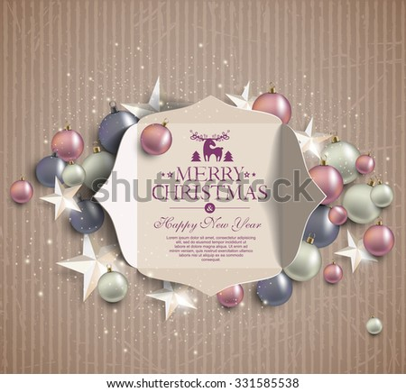 merry christmas  background of cardboard - stock vector