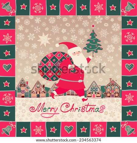 Merry Christmas background. Santa Claus, Christmas gifts, little town, Xmas tree, star and snowflakes in ornamental frame. Vector illustration, greeting card. - stock vector