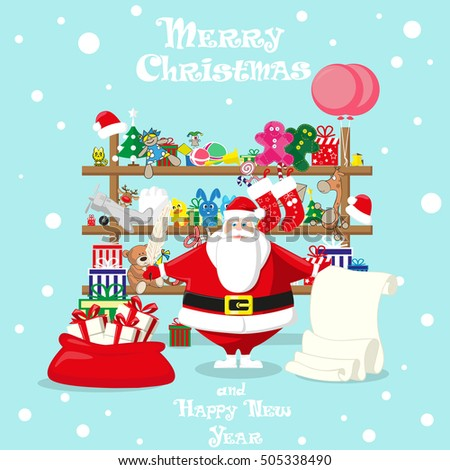 Merry Christmas Background Santa Shop With Cute Claus And Gifts Toys Dolls