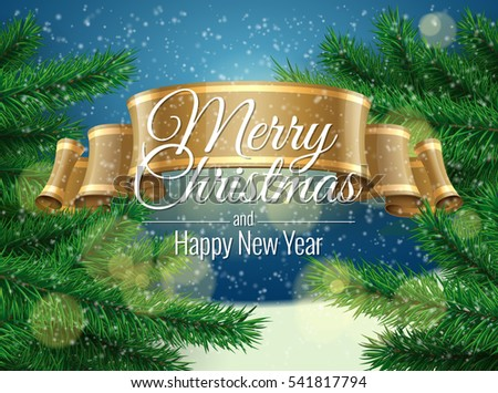Merry Christmas Background template greeting card. Vector illustration.