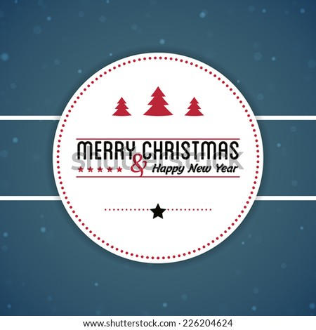Merry Christmas background with badge  - stock vector