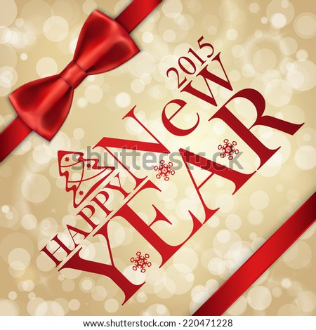 Merry Christmas background with bow and snowflakes, gold bokeh effect - stock vector