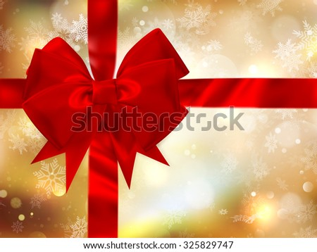 Merry Christmas background with bow and snowflakes, gold bokeh effect. EPS 10 vector file included