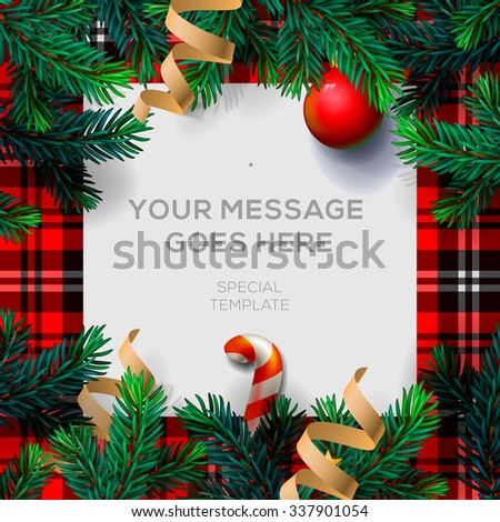 Merry Christmas background with Chrirstmas decor fir twigs and confetti, vector illustration. - stock vector
