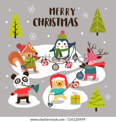 Merry Christmas Background With Cute Cartoon Animals