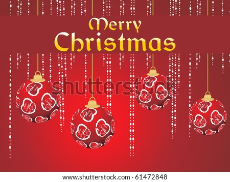 merry christmas background with decorated hanging ball