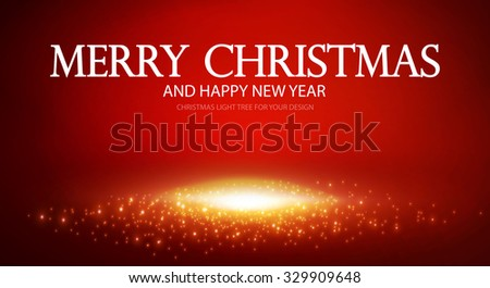 Merry Christmas Background with Light. Happy New Year flyer template. Vector illustration - stock vector