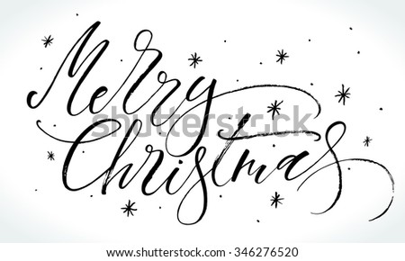 Merry Christmas background with modern calligraphy and hand drawn design elements. Handwritten letters, vector illustration. - stock vector