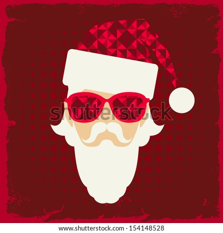 Merry Christmas background with Santa in hipster style. - stock vector