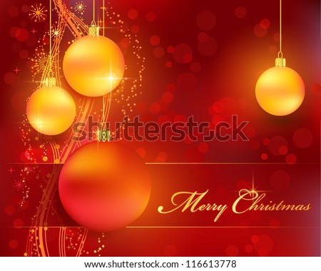 Merry Christmas background with stars, snow flakes, a wavy line pattern, bokeh lights and Christmas balls for your festive themed designs. EPS10 - stock vector