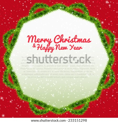Merry Christmas background with xmas tree frame, snowflakes and text. Vector illustration for your design, posters, greeting card, banners. - stock vector
