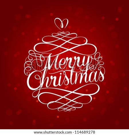 Merry Christmas ball typography illustration - stock vector