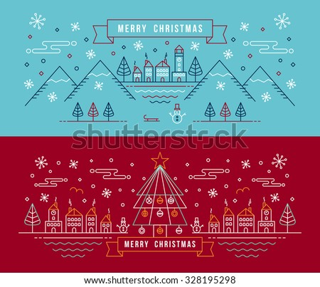 Merry christmas banner set in outline linear style. City with snowman, xmas tree and winter holiday elements. EPS10 vector. - stock vector