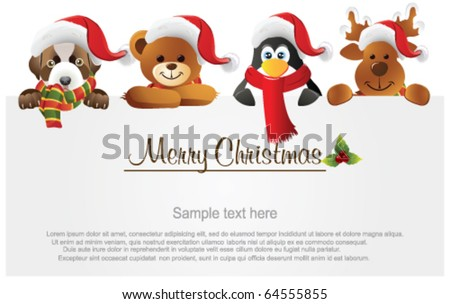 Merry Christmas banner with animals - stock vector