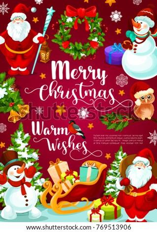 Merry christmas banner xmas gift santa stock vector 2018 769513906 merry christmas banner with xmas gift in santa sleigh christmas wreath of holly and pine negle Choice Image