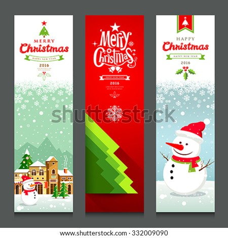 Merry Christmas, banners design vertical collections background, vector illustration - stock vector