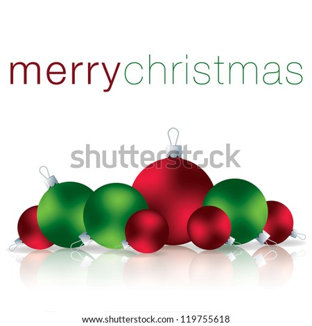 Merry Christmas bauble card in vector format. - stock vector