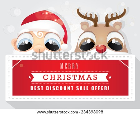 merry christmas best offer discount sale tag with santa claus and red nose reindeer - stock vector
