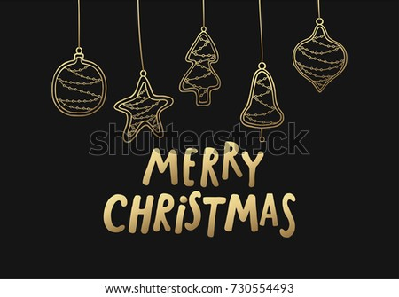 Merry Christmas Black Gold Greeting Card Stock Vector 730554493