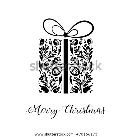Merry christmas black and white christmas card with gift box collection for christmas template
